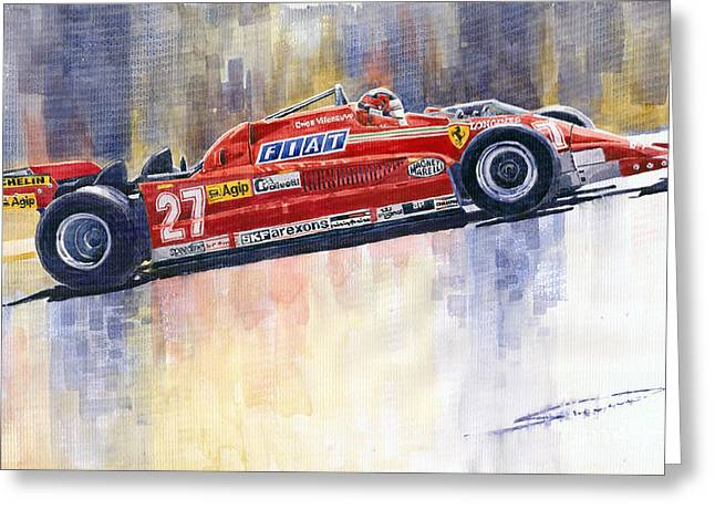 Red Ferrari Greeting Cards - Ferrari 126 CK Gilles Villeneueve Spanish GP 1981 Greeting Card by Yuriy  Shevchuk