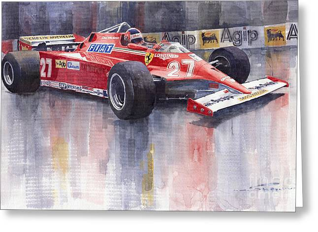 Classic Sports Cars Greeting Cards - Ferrari 126C 1981 Monte Carlo GP Gilles Villeneuve Greeting Card by Yuriy  Shevchuk