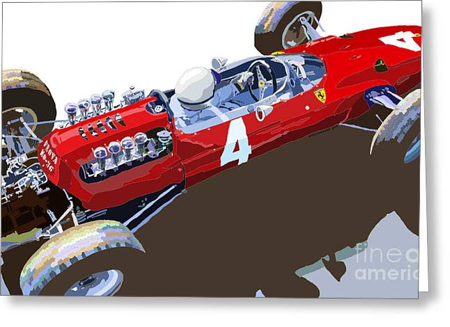Racing Car Greeting Cards - Ferrari 158 F1 1965 Dutch GP Lorenzo Bondini Greeting Card by Yuriy  Shevchuk