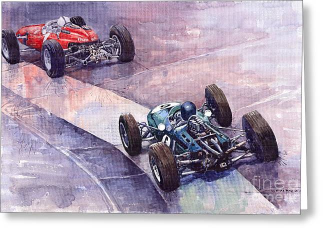 Gurney Greeting Cards - Ferrari 158 vs Brabham Climax German GP 1964 Greeting Card by Yuriy  Shevchuk
