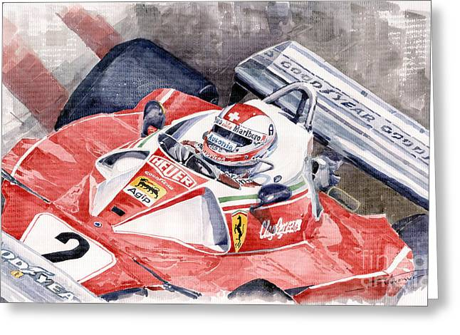 Red Clay Greeting Cards - Ferrari 312 T 1976 Clay Regazzoni Greeting Card by Yuriy  Shevchuk