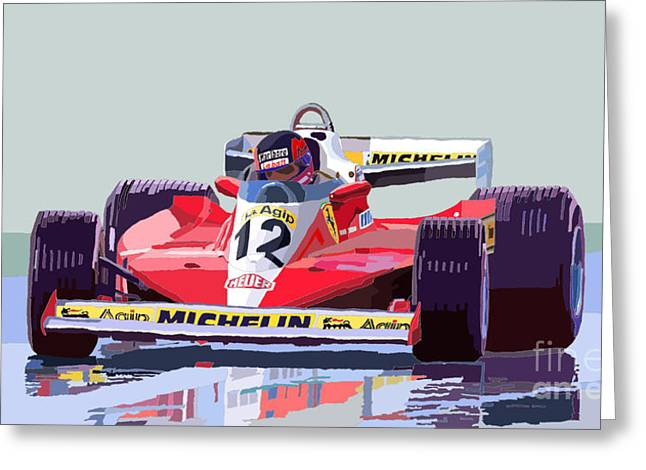 Racing Car Greeting Cards - Ferrari 312 T3 1978 canadian GP Greeting Card by Yuriy  Shevchuk