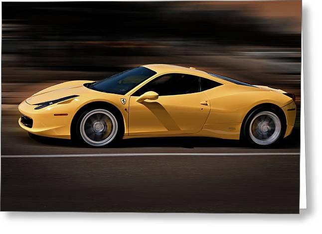 Yellows Digital Art Greeting Cards - Ferrari 458 Italia Greeting Card by Douglas Pittman