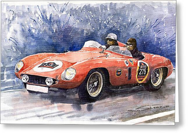 Old Auto Greeting Cards - Ferrari 500 Mondial Greeting Card by Yuriy  Shevchuk