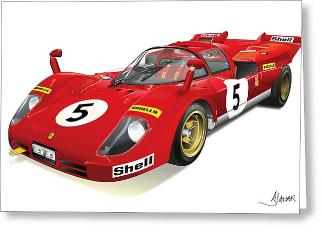 Automotive Illustration Greeting Cards - Ferrari 512 Greeting Card by Alain Jamar