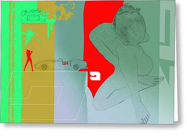Sophisticated Woman Greeting Cards - Ferrari and a girl Greeting Card by Naxart Studio