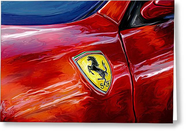 Sports Car Greeting Cards - Ferrari Badge Greeting Card by David Kyte