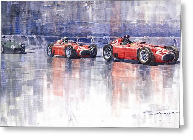 Motorsports Greeting Cards - Ferrari D50 Monaco GP 1956 Greeting Card by Yuriy  Shevchuk
