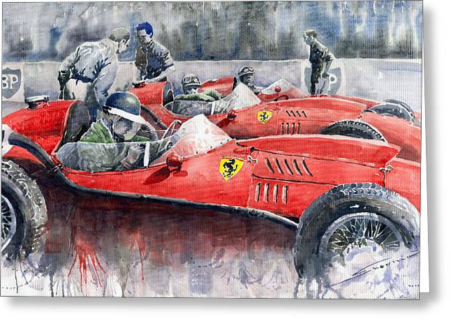 Watercolour Paintings Greeting Cards - Ferrari Dino 246 F1 1958 Mike Hawthorn French GP  Greeting Card by Yuriy  Shevchuk