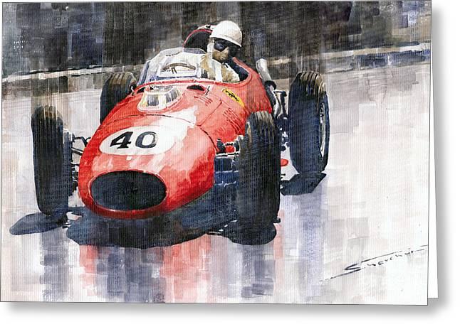 Dino Greeting Cards - Ferrari Dino 246 F1 Monaco GP 1958 Wolfgang von Trips Greeting Card by Yuriy  Shevchuk