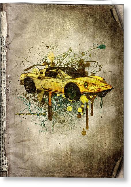 Rare Mixed Media Greeting Cards - Ferrari Dino 246 GTS Greeting Card by Svetlana Sewell