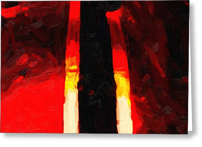 Ferrari Racing Abstract Greeting Card by Wingsdomain Art and Photography