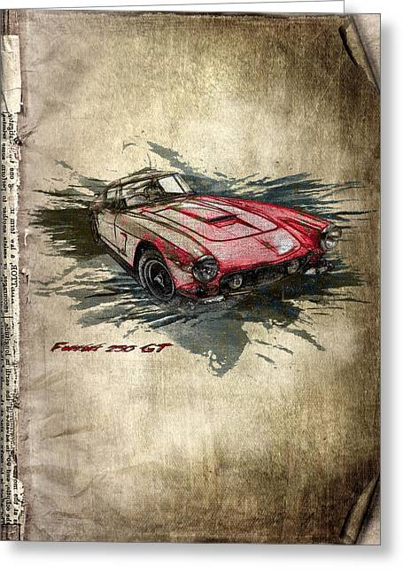 Rare Mixed Media Greeting Cards - Ferrari Greeting Card by Svetlana Sewell