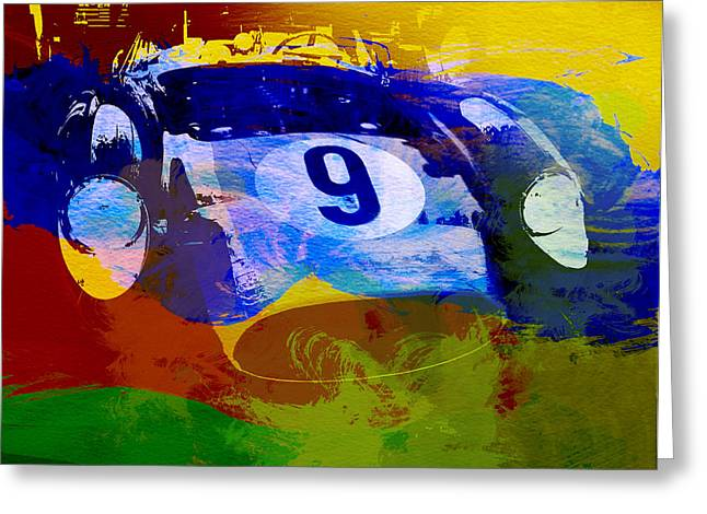 Bugatti Greeting Cards - Ferrari Testarossa Watercolor Greeting Card by Naxart Studio