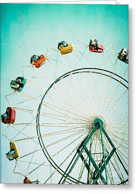 Greeting Cards - Ferris Wheel 2 Greeting Card by Kim Fearheiley