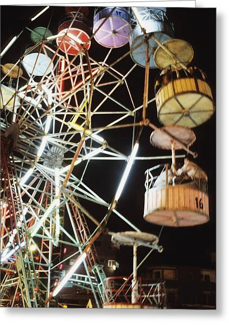 Ferris Wheel Night Photography Greeting Cards - Ferris Wheel At Fairground Greeting Card by Axiom Photographic