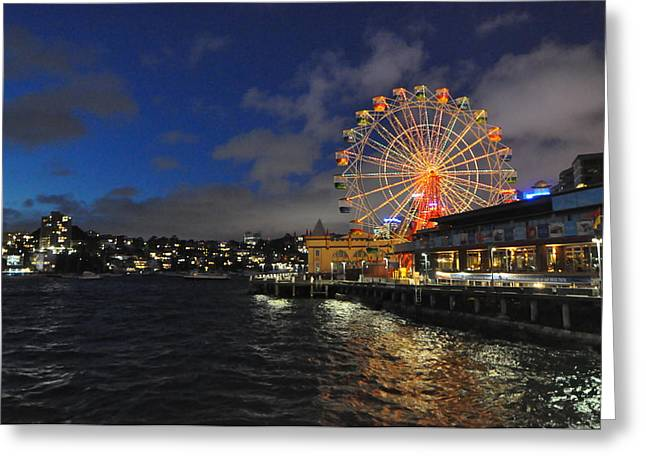 ferris wheel at night in Sydney Harbour Greeting Card by Jacques Van Niekerk