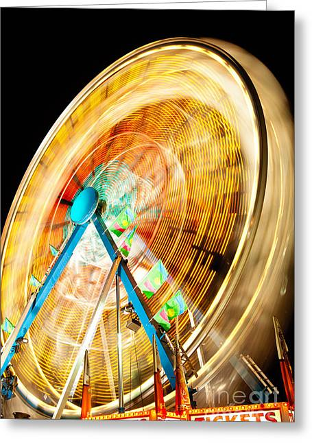 Amusement Greeting Cards - Ferris Wheel at Night Greeting Card by Paul Velgos