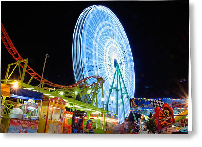 Twirl Greeting Cards - Ferris wheel at night Greeting Card by Stylianos Kleanthous
