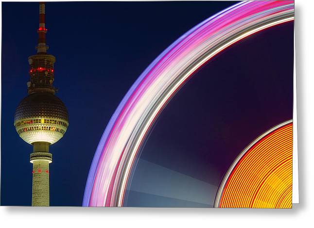 Himmel Digital Art Greeting Cards - Ferris Wheel Berlin Greeting Card by Marcus Klepper