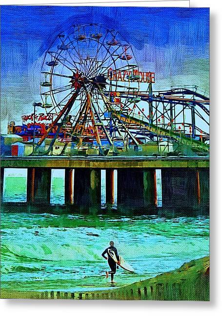 Surf City Greeting Cards - Ferris Wheel Greeting Card by Rachel Katic