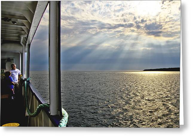 Grandson Greeting Cards - Ferry Beautiful Morning Greeting Card by Vicki Jauron