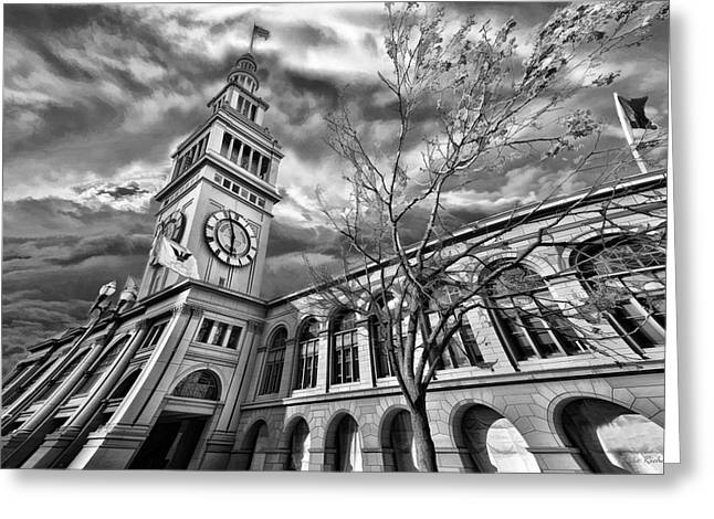 Blake Richards Greeting Cards - Ferry Building Black  White Greeting Card by Blake Richards