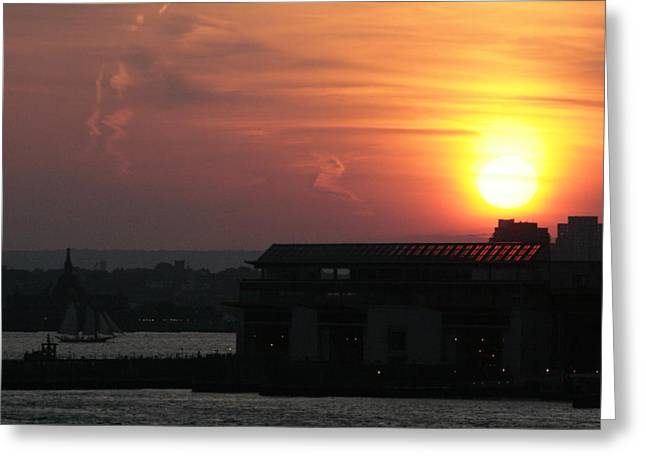Staten Island Ferry Greeting Cards - Ferry Sunset Greeting Card by Christopher Kirby