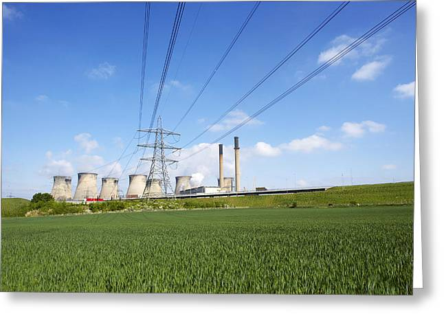 Power Plants Greeting Cards - Ferrybridge Power Station And Rape Field Greeting Card by Mark Sykes