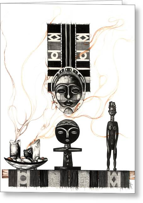 African-american Artist Drawings Greeting Cards - Fertility Greeting Card by Anthony Burks Sr