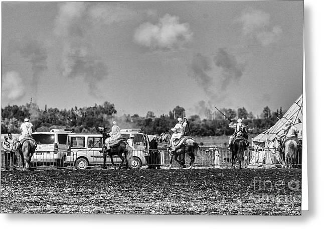 Rabat Photographs Greeting Cards - Festival Final BW Greeting Card by Chuck Kuhn