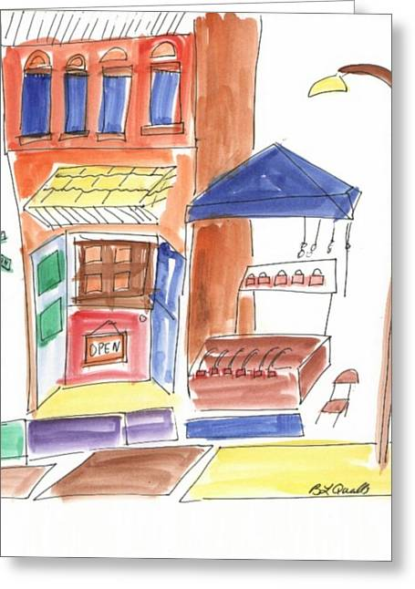 B L Qualls Greeting Cards - Festival in the City  6 Greeting Card by B L Qualls
