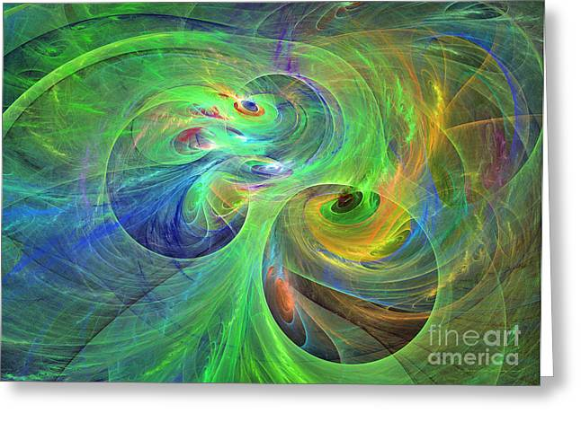 Interior Still Life Mixed Media Greeting Cards - Festival of spirals - abstract art Greeting Card by Abstract art prints by Sipo