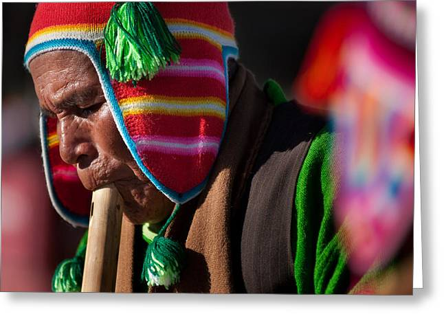 Bolivia Greeting Cards - festival of traditional dances from the population of Compi. Republic of Bolivia. Greeting Card by Eric Bauer