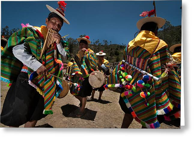Highland Greeting Cards - Festival of traditional dances. Population of Copusquia. Republic of Bolivia.  Greeting Card by Eric Bauer
