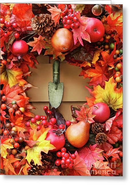 Autumn Decorations Greeting Cards - Festive autumn wreath Greeting Card by Sandra Cunningham