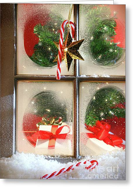 Festive Holiday Window Greeting Card by Sandra Cunningham