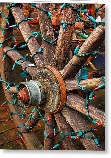 Wheel Framed Prints Greeting Cards - Festive Wagon Wheel Greeting Card by Steven Ainsworth