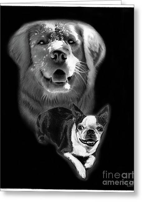 Charcoal Dog Drawing Drawings Greeting Cards - Festus and Rosie Greeting Card by Peter Piatt