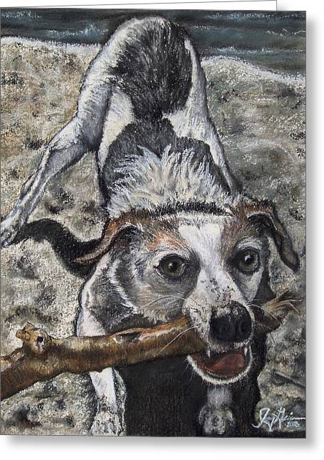 Terriers Pastels Greeting Cards - Fetch Greeting Card by Jenny Greiner