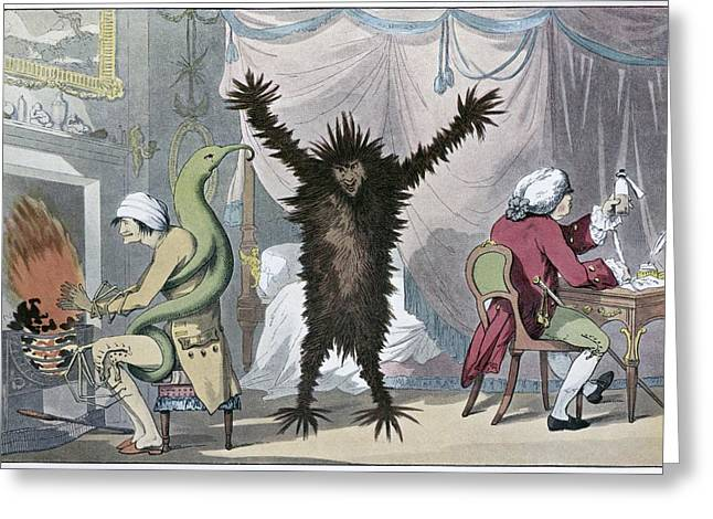 Die Karikatur Und Satire In Der Medizin Greeting Cards - Fever And Ague, Satirical Artwork Greeting Card by