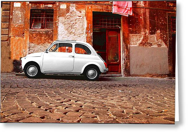 Italian Street Greeting Cards - Fiat 500 Greeting Card by Valentino Visentini