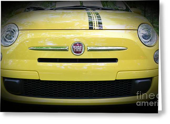 Fiat 500 Greeting Cards - Fiat 500 yellow with racing stripe Greeting Card by Paul Ward