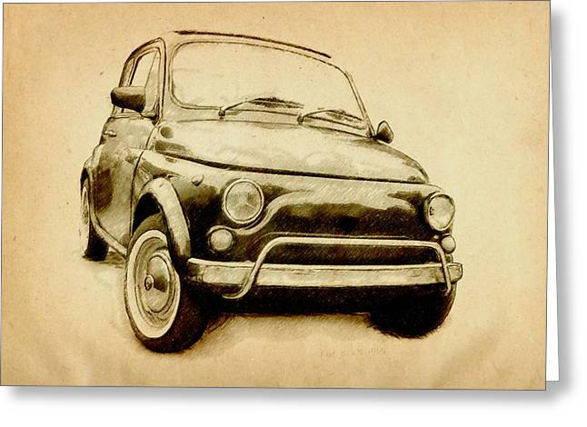 Fiat 500 Greeting Cards - Fiat 500L 1969 Greeting Card by Michael Tompsett