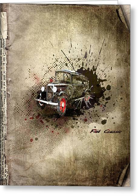 Rare Mixed Media Greeting Cards - Fiat Classic Greeting Card by Svetlana Sewell