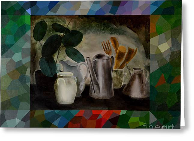 Jukka Nopsanen Greeting Cards - Ficus and Cans Greeting Card by Jukka Nopsanen