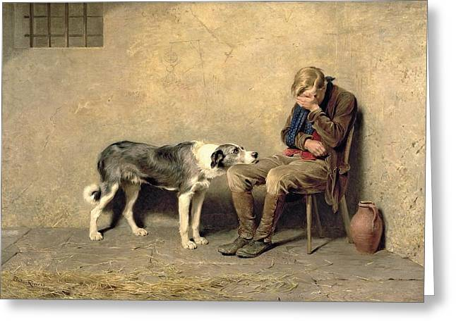 Prisoner Paintings Greeting Cards - Fidelity Greeting Card by Briton Riviere