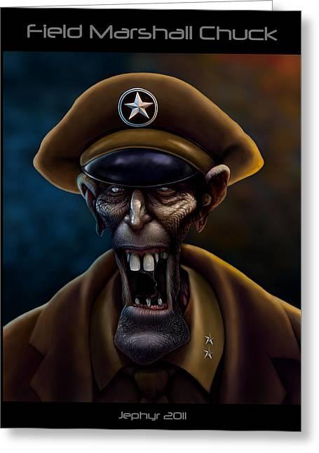 Wacom Tablet Greeting Cards - Field Marshall Chuck Greeting Card by Jephyr Art