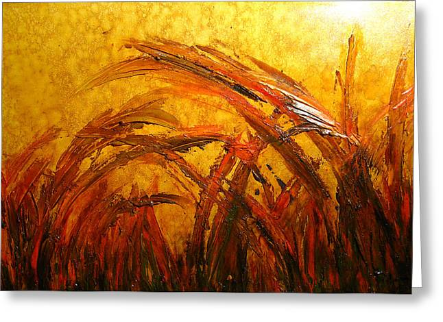 Surreal Landscape Mixed Media Greeting Cards - Field Of Gold Greeting Card by Henry Parsinia