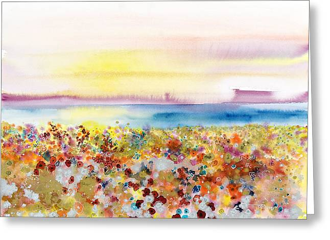 Medium Flowers Greeting Cards - Field of Joy Greeting Card by Tara Thelen - Printscapes